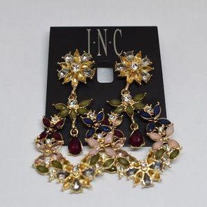 I.N.C. Gold-Tone Multi-Stone Drop Flower Earrings
